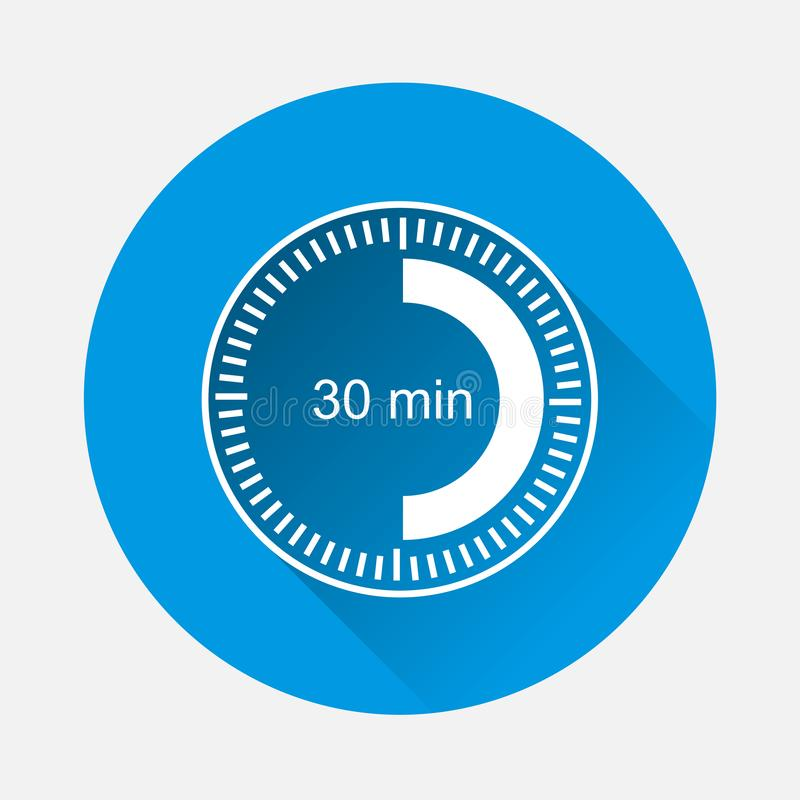 Registre el icono que indica el intervalo de tiempo del minuto 30 en backgr azul libre illustration
