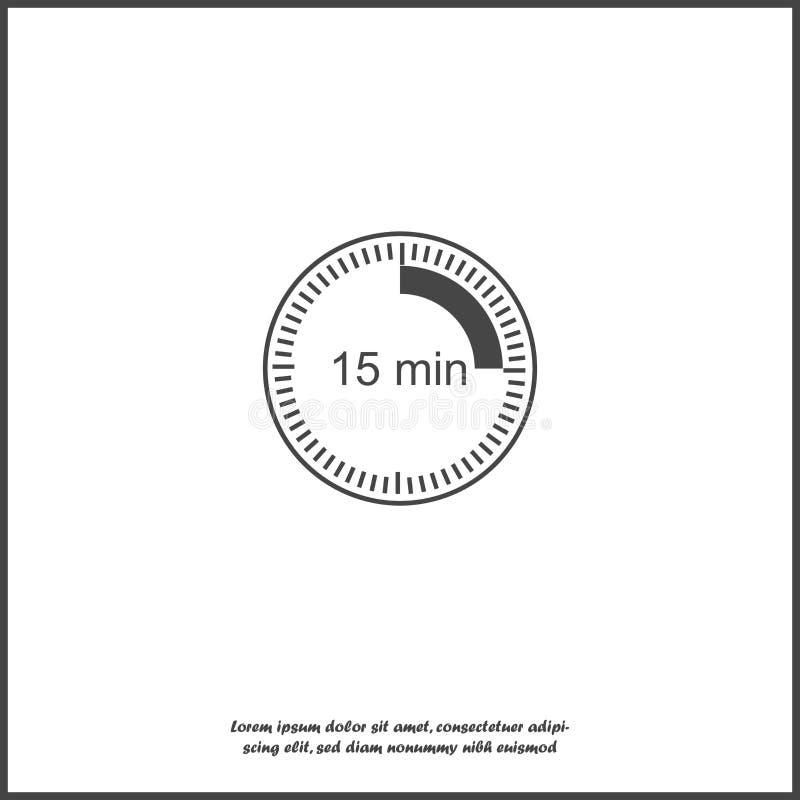 Registre el icono que indica el intervalo de tiempo de 15 minutos Tiempo de quince minutos en el reloj en el fondo aislado blanco ilustración del vector