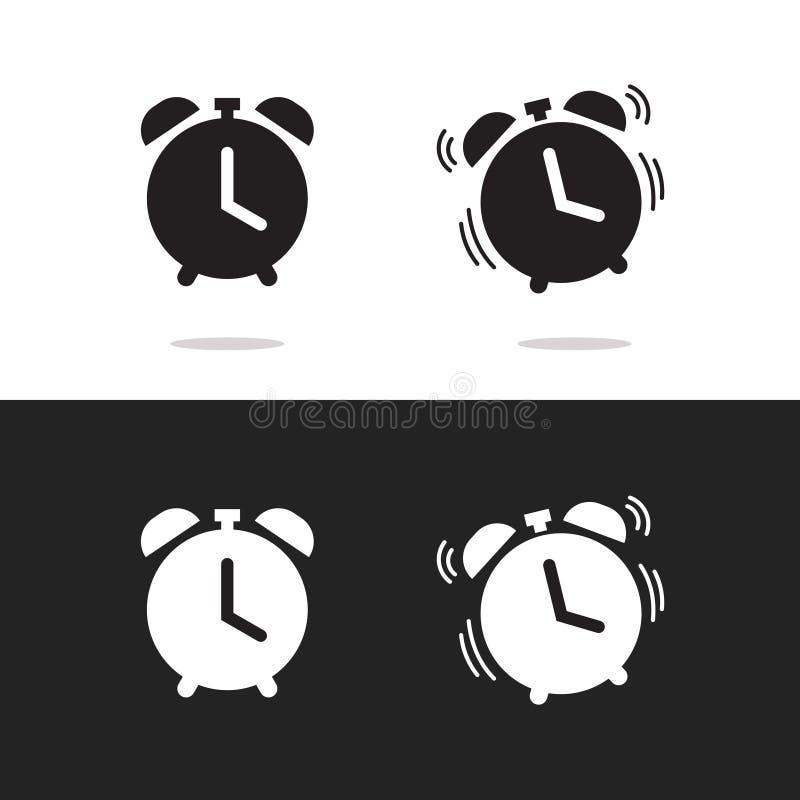 Registre el vector del icono de la alarma aislado en el fondo blanco y negro libre illustration