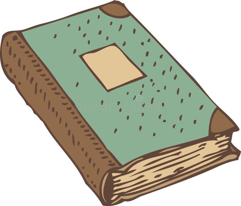 Registre fermé de livre ou d'antiquité avec la couverture de turquoise illustration stock