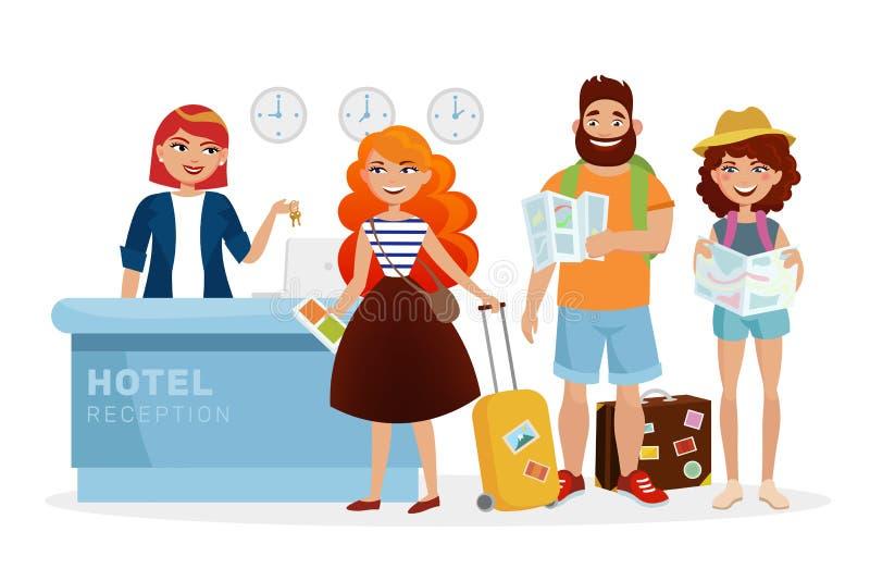 Registre a ilustração moderna da mesa de recepção do hotel com povos dos desenhos animados, turistas O recepcionista de sorriso d ilustração royalty free
