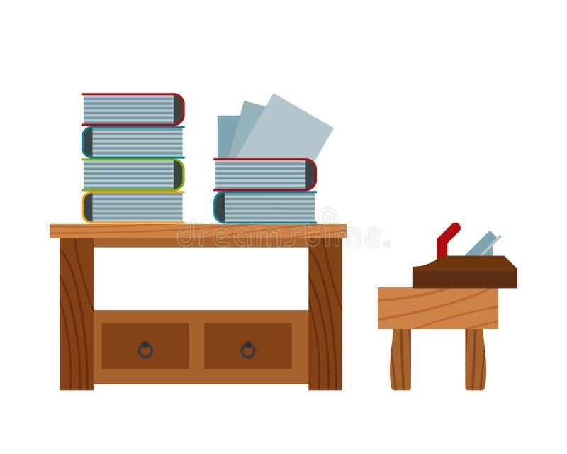 Registre o empilhamento da tabela e do plano no vetor da cadeira ilustração do vetor