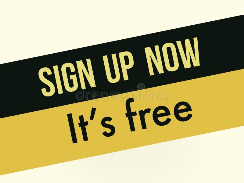Registreren nu zijn vrije plaats reclame vector illustratie