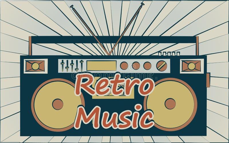 Registreringsapparat för ljudband för musik för gammal hipster för tappning retro stilfull för audiocassettes av 70 `en s, 80 ` s stock illustrationer