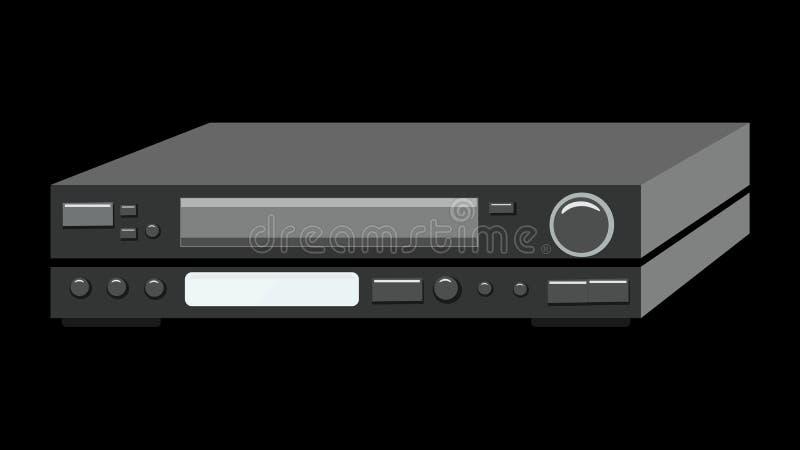 Registreringsapparat för video för svart gammal hipster för tappning retro retro antik för videokassetter för hållande ögonen på  royaltyfri illustrationer