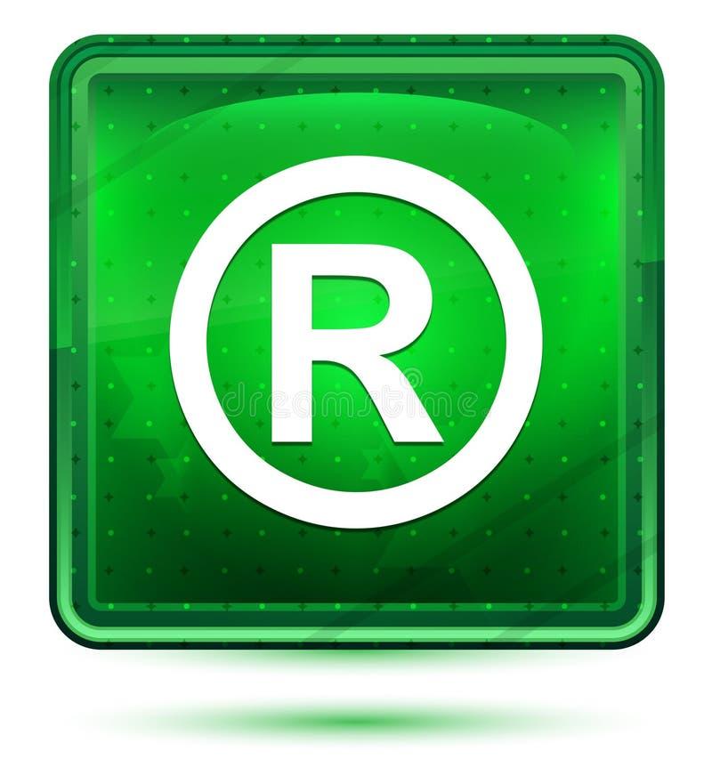 Registreringsljus för symbolsymbolsneon - grön fyrkantig knapp royaltyfri illustrationer