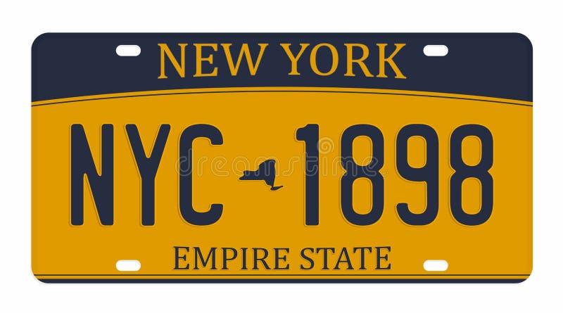 Registreringsskylt som isoleras på vit bakgrund New York registreringsskylt med nummer och bokstäver Emblem för t-skjorta diagram vektor illustrationer