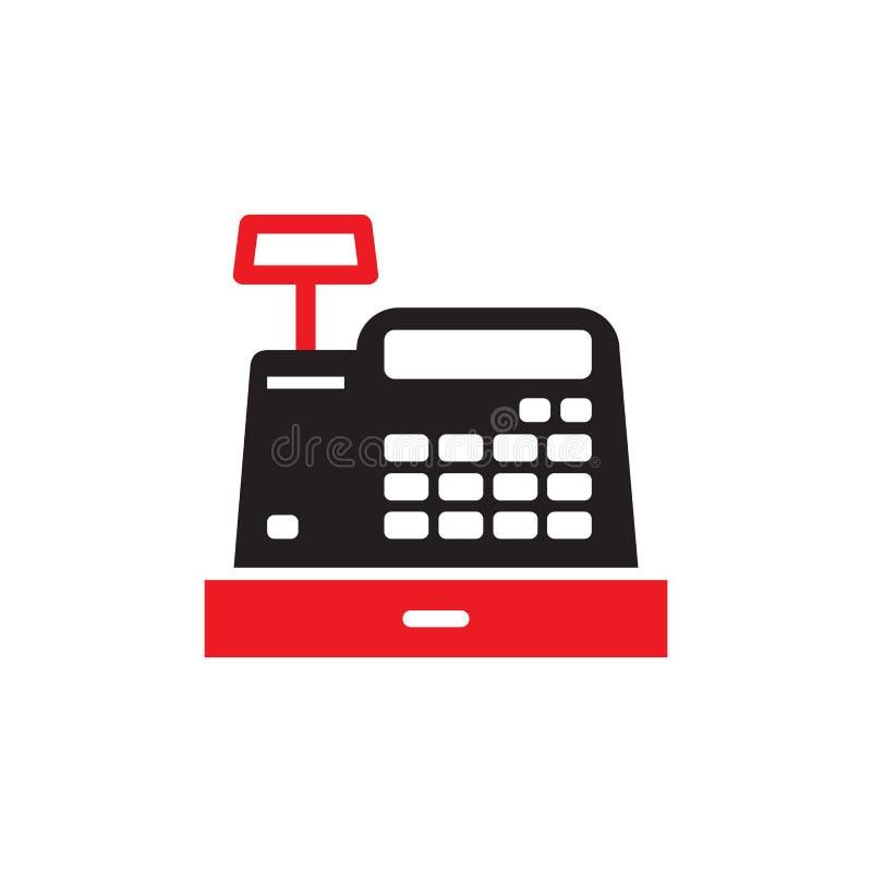 Registrierkassemaschine - Ikone auf weißem Hintergrund für Website- oder mobilaanwendung Geldkassettenkonzeptzeichen Element der  stock abbildung