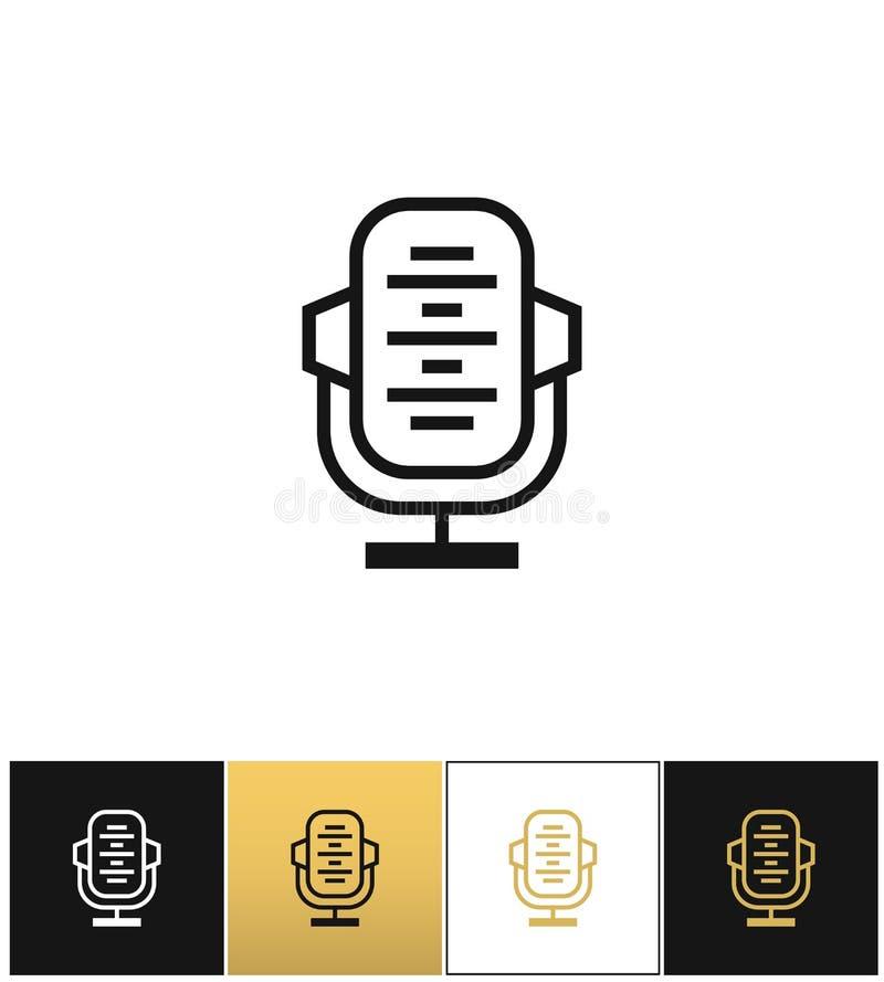 Registro audio retro do microfone ou da fase, ícone do vetor do estúdio da notícia ilustração stock