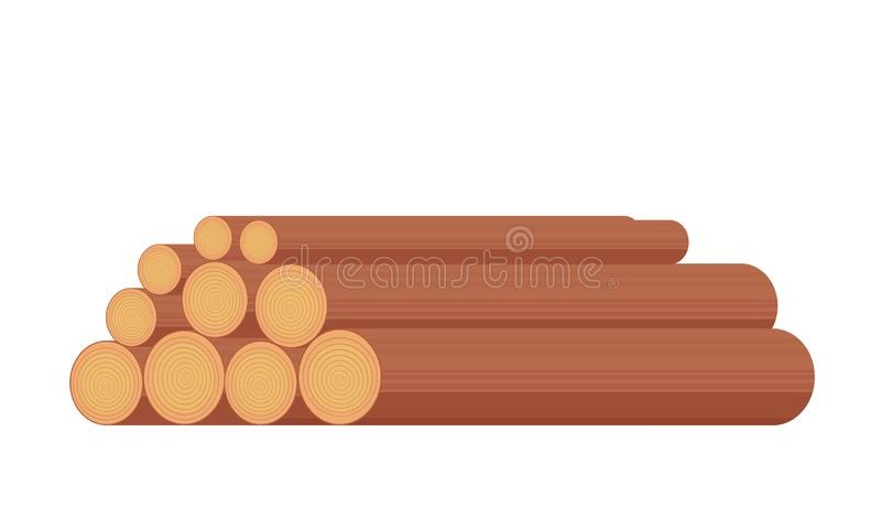 Registro crudo o pila de madera para transformación en la industria del bosque o para el uso como combustible Ejemplo plano del e libre illustration