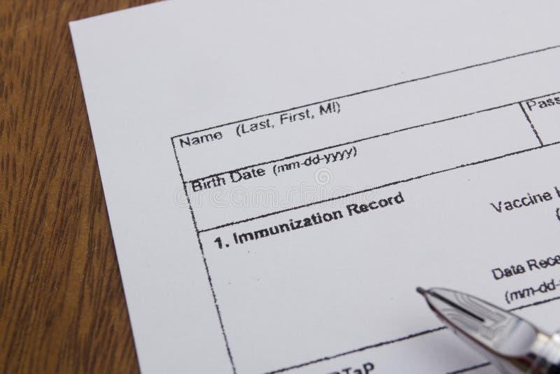 Registro da imunização fotografia de stock royalty free