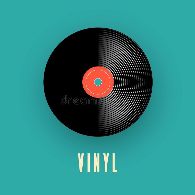 Registro da música do vinil registro de gramofone velho do vintage Ilustração do vetor ilustração stock