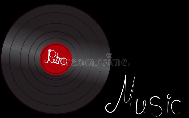 Registro de gramofone antigo velho retro análogo musical do vintage do moderno do vinil iridescente preto para o gramofone e a in ilustração royalty free