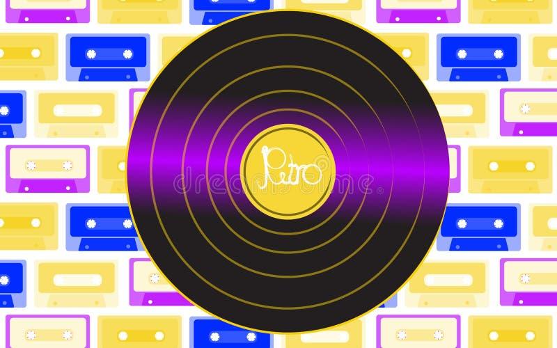 Registro de gramofone velho retro análogo musical do vintage do moderno do vinil brilhante para um gramofone do vinil com uma ins ilustração royalty free