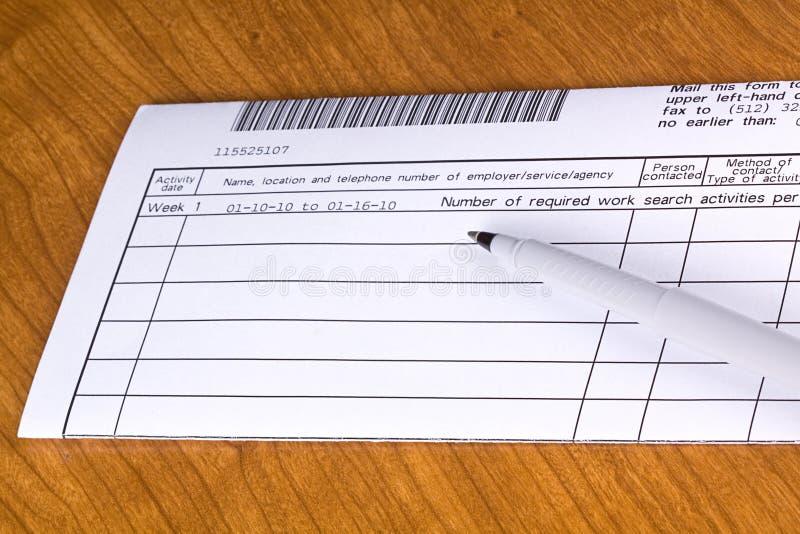 Registro de la búsqueda del desempleo. fotos de archivo libres de regalías