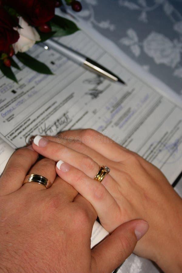 Registro de la boda imagen de archivo libre de regalías