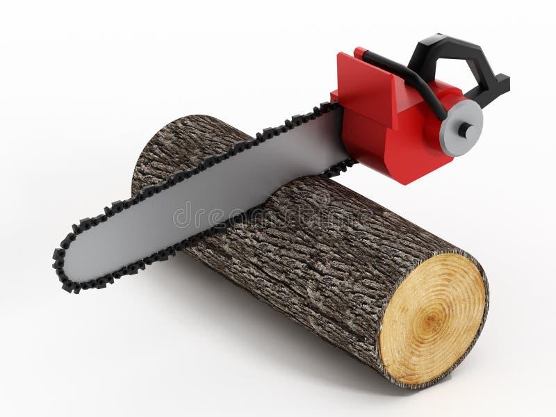 Registro de la madera del corte de la motosierra stock de ilustración