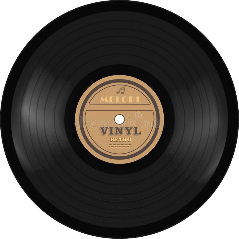 Registro de LP do vinil do gramofone Tecnologia velha, projeto retro realístico, ilustração do vetor, isolada no fundo branco ilustração do vetor