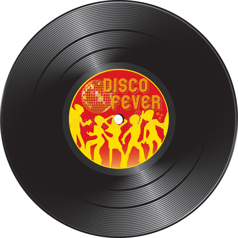 Registro de vinil com febre do disco ilustração stock