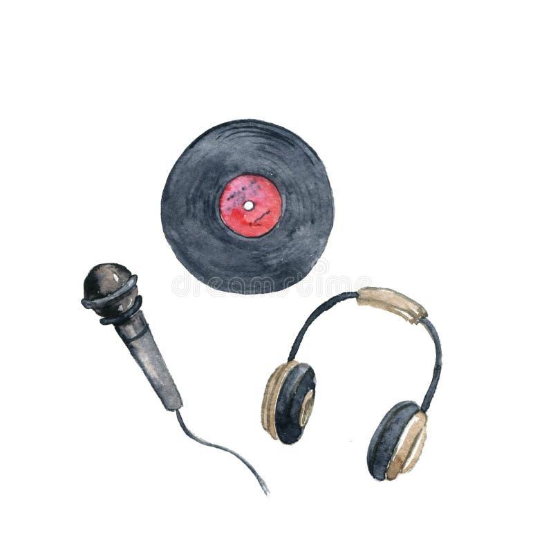 Registro de vinil do desenho da aquarela, microfone e fones de ouvido ilustração stock