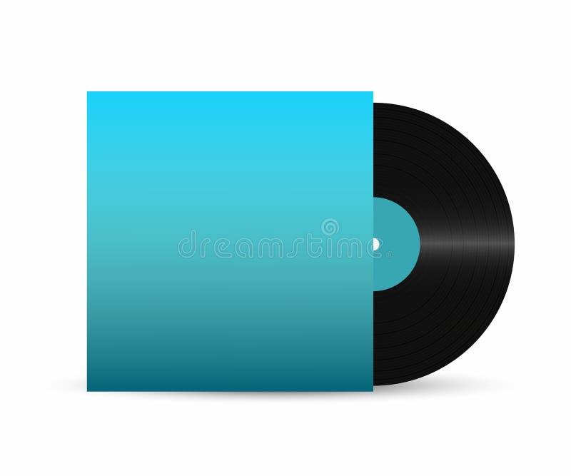 Registro de vinil Registro de vinil do gramofone com tampa retro vazia Disco realístico do vinil ilustração royalty free