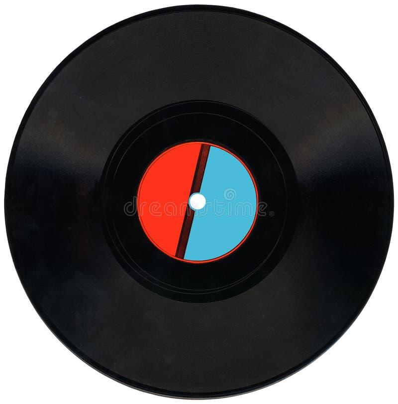 Registro de vinil do vintage, vermelho, etiqueta azul, grampeamento, carvão foto de stock