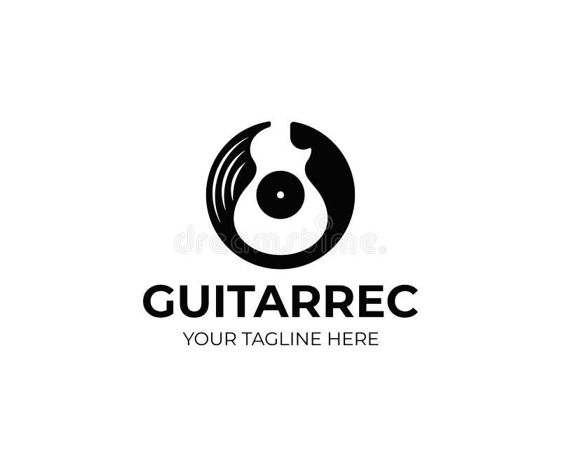 Registro de vinil e molde do logotipo da guitarra elétrica Projeto do vetor do disco da música da guitarra ilustração stock