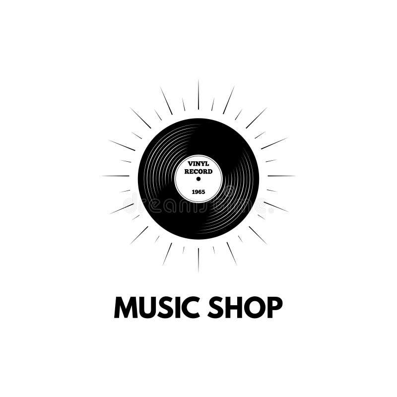 Registro de vinil loja dos registros de vinil Vinil retro Logotipo do stote da música Vetor ilustração do vetor