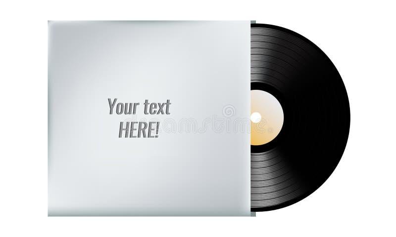 Registro de vinil no envelope da tampa em branco Ilustração do vetor ilustração stock