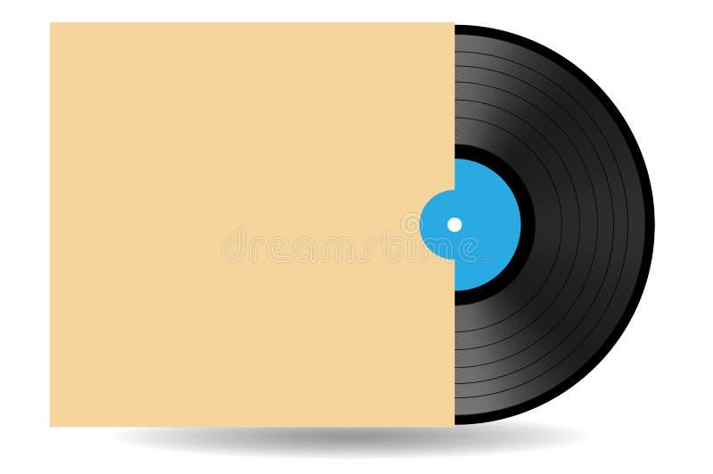 Registro de vinil preto do jogo longo do vintage com luva e etiqueta azul ilustração stock