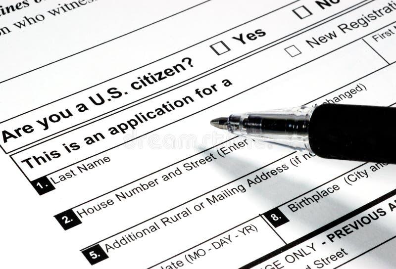 Registro de votantes imagen de archivo