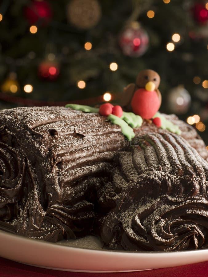 Registro de Yule del chocolate fotografía de archivo libre de regalías