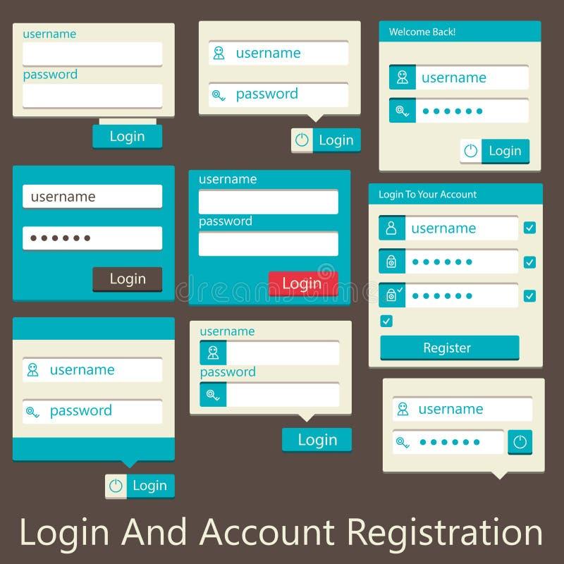 Registro del inicio de sesión y de la cuenta de la interfaz de usuario ilustración del vector