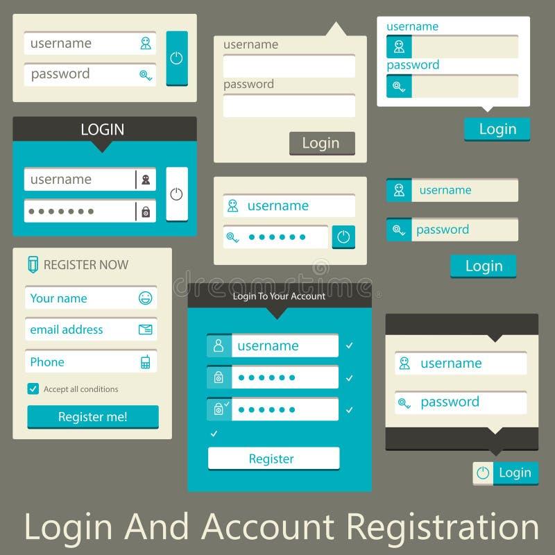Registro do início de uma sessão e da conta da interface de utilizador ilustração do vetor