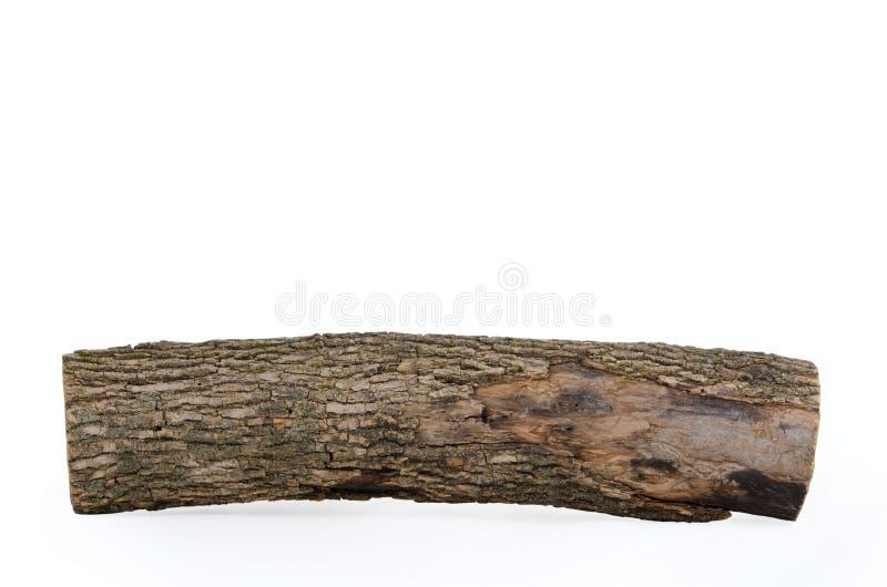 Registro do topo com a textura de madeira isolada imagens de stock royalty free