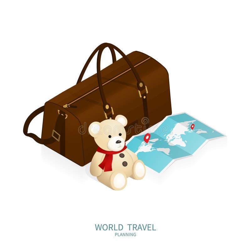 Registro em linha isométrico, mapa do mundo do passaporte, vetor do curso do plano da viagem ilustração royalty free
