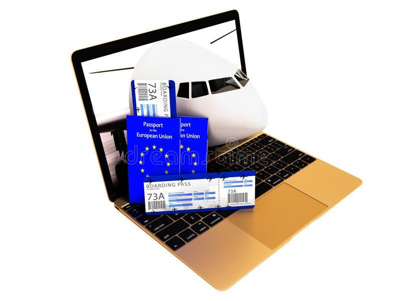 Registro moderno do bilhete de ar do conceito através do portátil para o vaca do verão ilustração do vetor