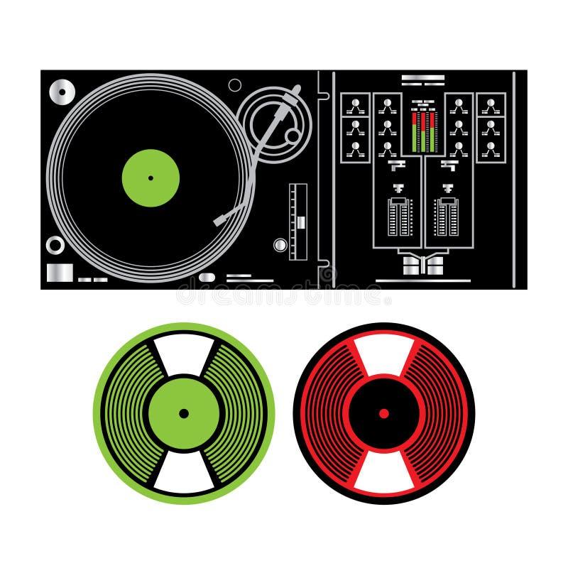 Registros da plataforma giratória e de vinil do DJ ilustração royalty free
