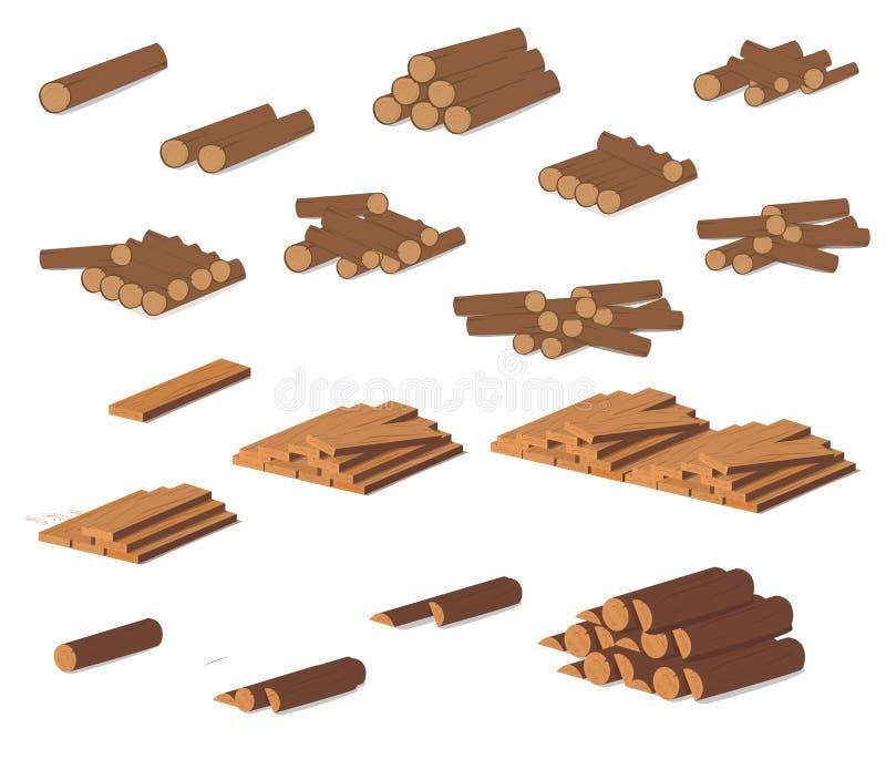 Registros de madeira Casca de Brown da madeira seca abatida Compra para a construção Ilustração do vetor Um grupo de correias de  ilustração do vetor