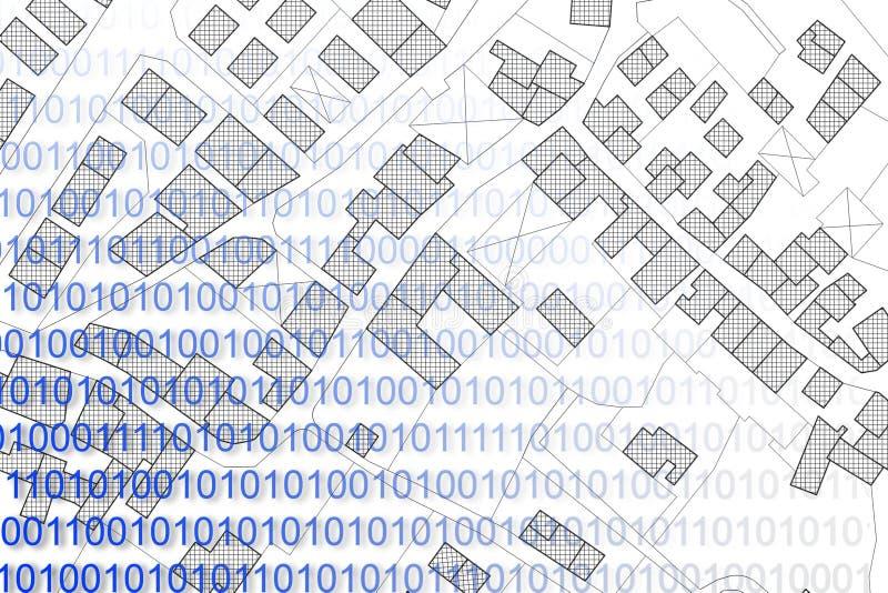 Registros de tierras automatizados - imagen del concepto con un mapa catastral imaginario del territorio con libre illustration