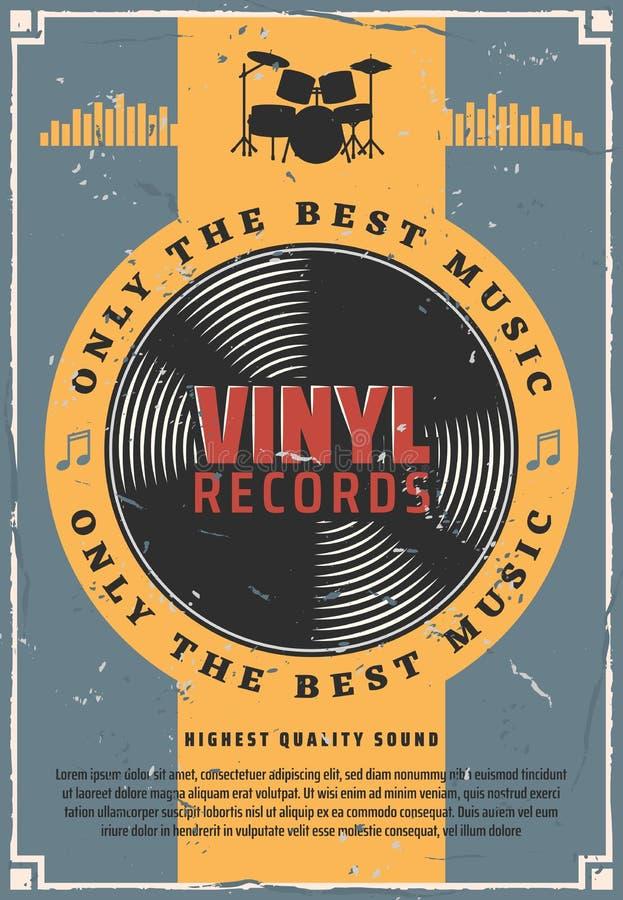 Registros de vinil e música do bombo ilustração stock