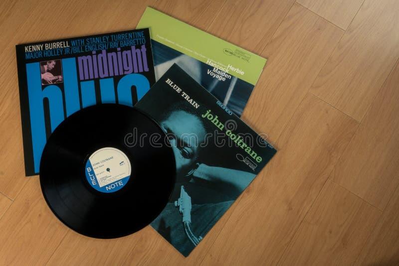 Registros de vinil de John Coltrane, de Kenny Burrell e de Herbie Hancock fotos de stock