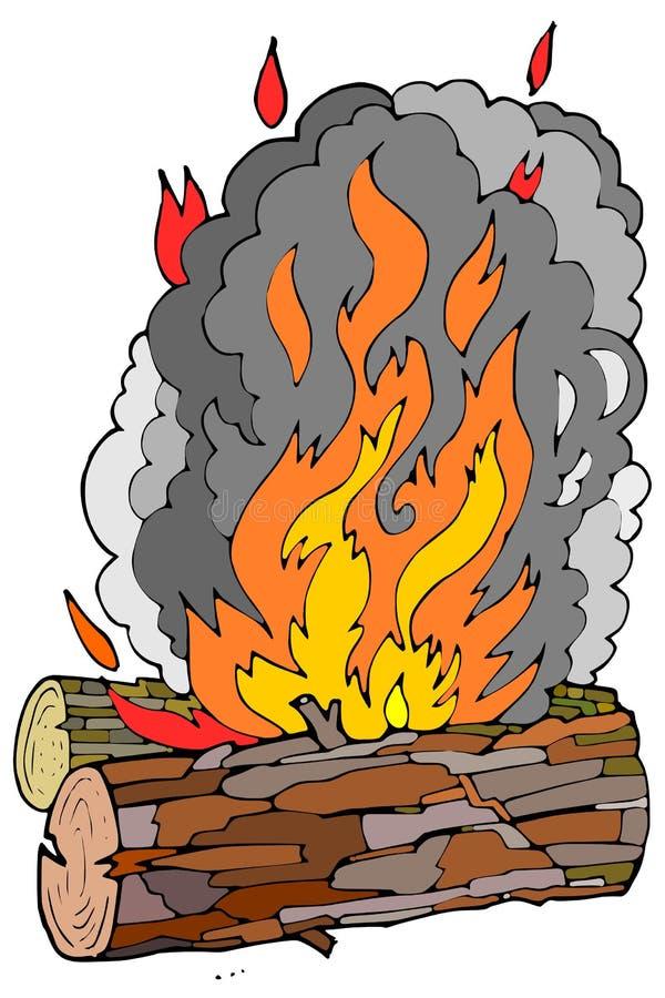 Registros y fuego de madera fotos de archivo