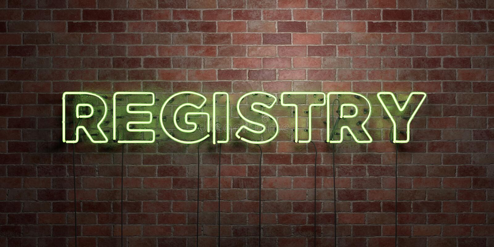 REGISTRY - fluorescent Neon tube Sign on brickwork - Front view - 3D rendered royalty free stock picture. Can be used for online banner ads and direct mailers stock illustration