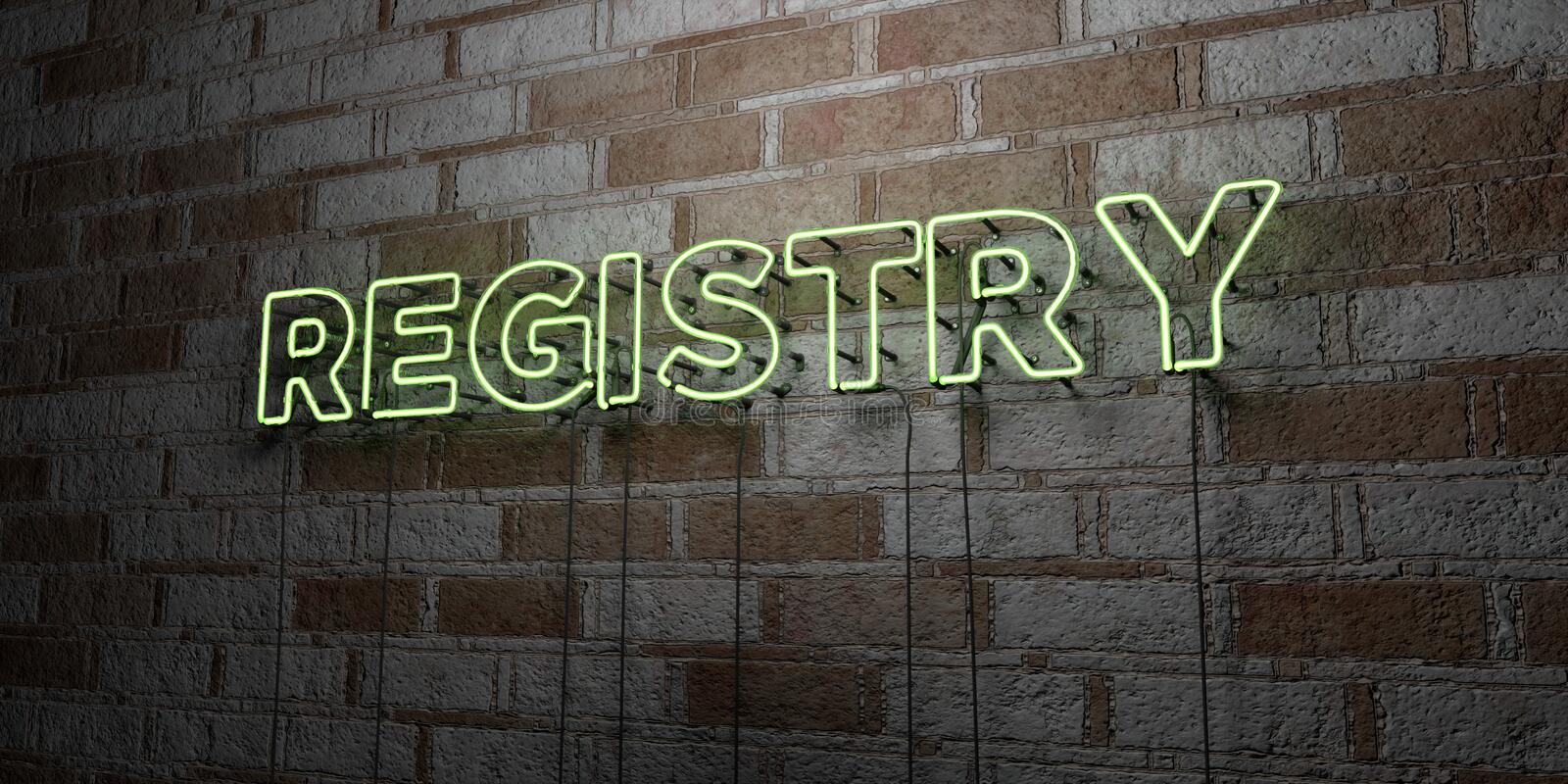 REGISTRY - Glowing Neon Sign on stonework wall - 3D rendered royalty free stock illustration. Can be used for online banner ads and direct mailers royalty free illustration