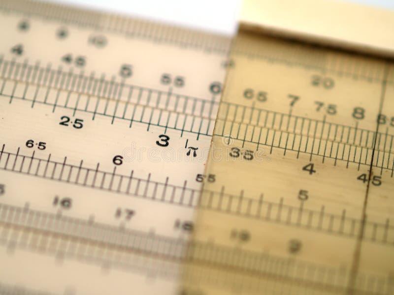 Regla de diapositiva que muestra el pi foto de archivo