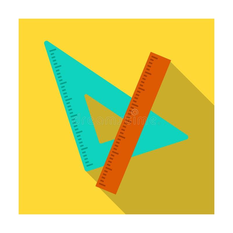 Regla y triángulo Dispositivos para el dibujo de la escuela El solo icono de la escuela y de la educación en estilo plano vector  libre illustration