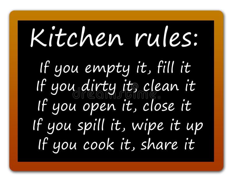 Reglas de la cocina stock de ilustración
