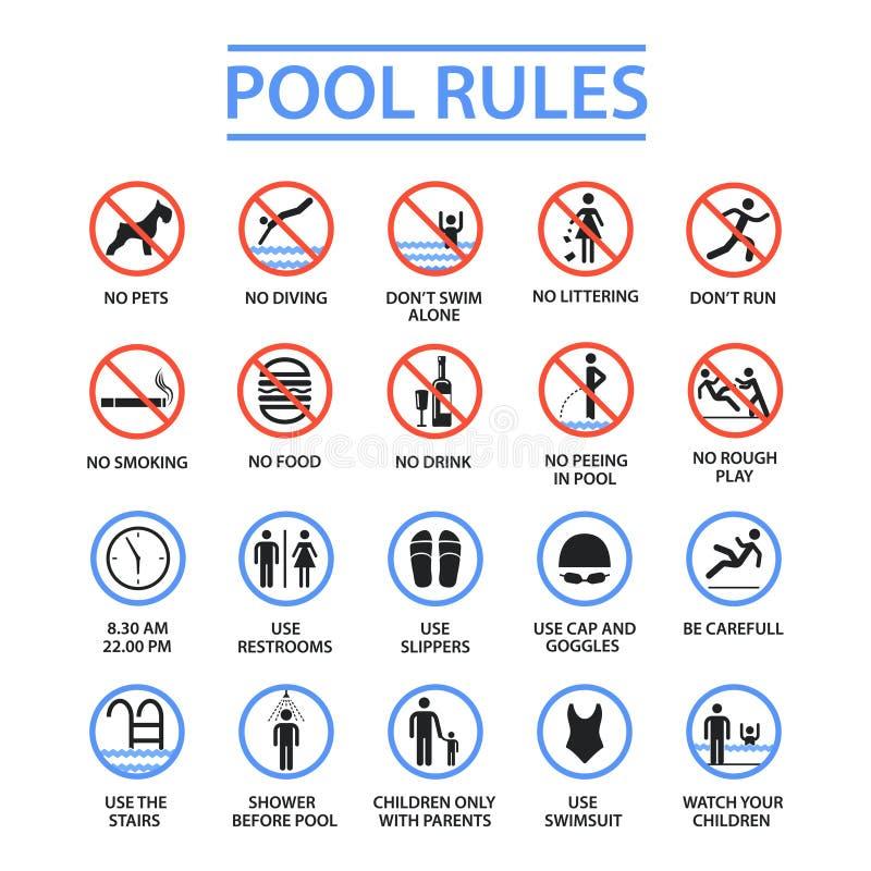 Reglas de la piscina ilustración del vector