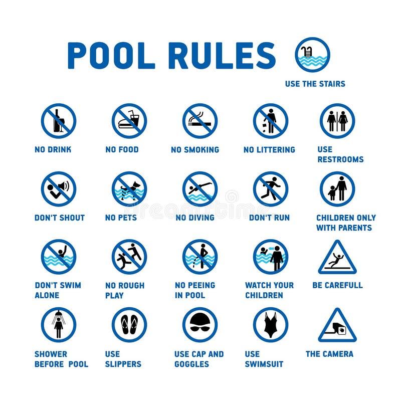 Reglas de la piscina Sistema de iconos y del símbolo para la piscina stock de ilustración